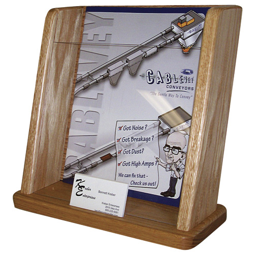Wooden Mallet Oak and Acrylic Countertop Display - Display with Business Card Holder