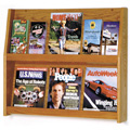 Wooden Mallet Slope™ Oak Literature Display - 12/Pockets - 24-1/2