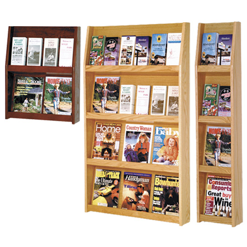 Wooden Mallet Slope™ Oak Literature Wall Displays