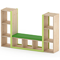 NOVUM® Bookcase with Wall and  Seat