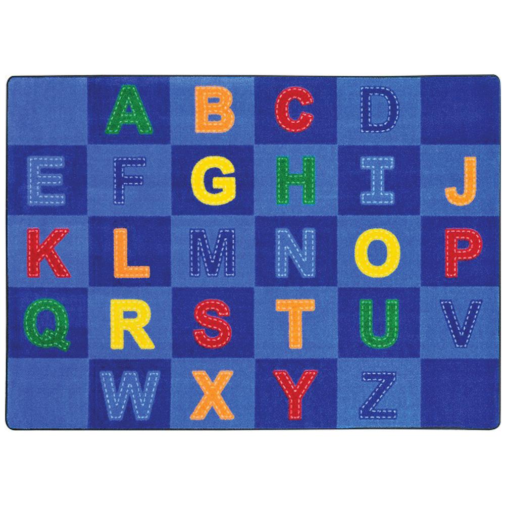 """Joy Carpets Patchwork Letters™ - Children's Reading Carpets - 5 ft 4"""" x 7 ft 8"""" Rectangle"""