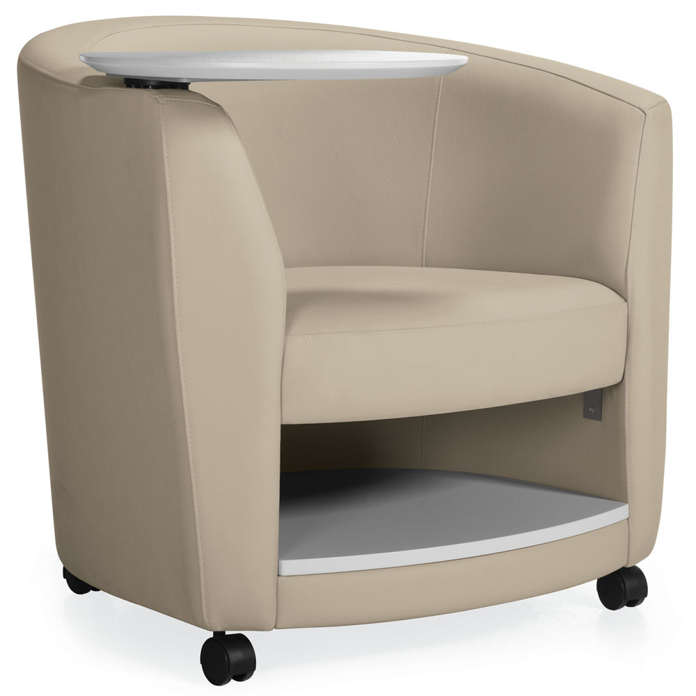 GLOBAL Sirena™ Lounge Seating - Lounge Chair with Tablet & Book Shelf and casters