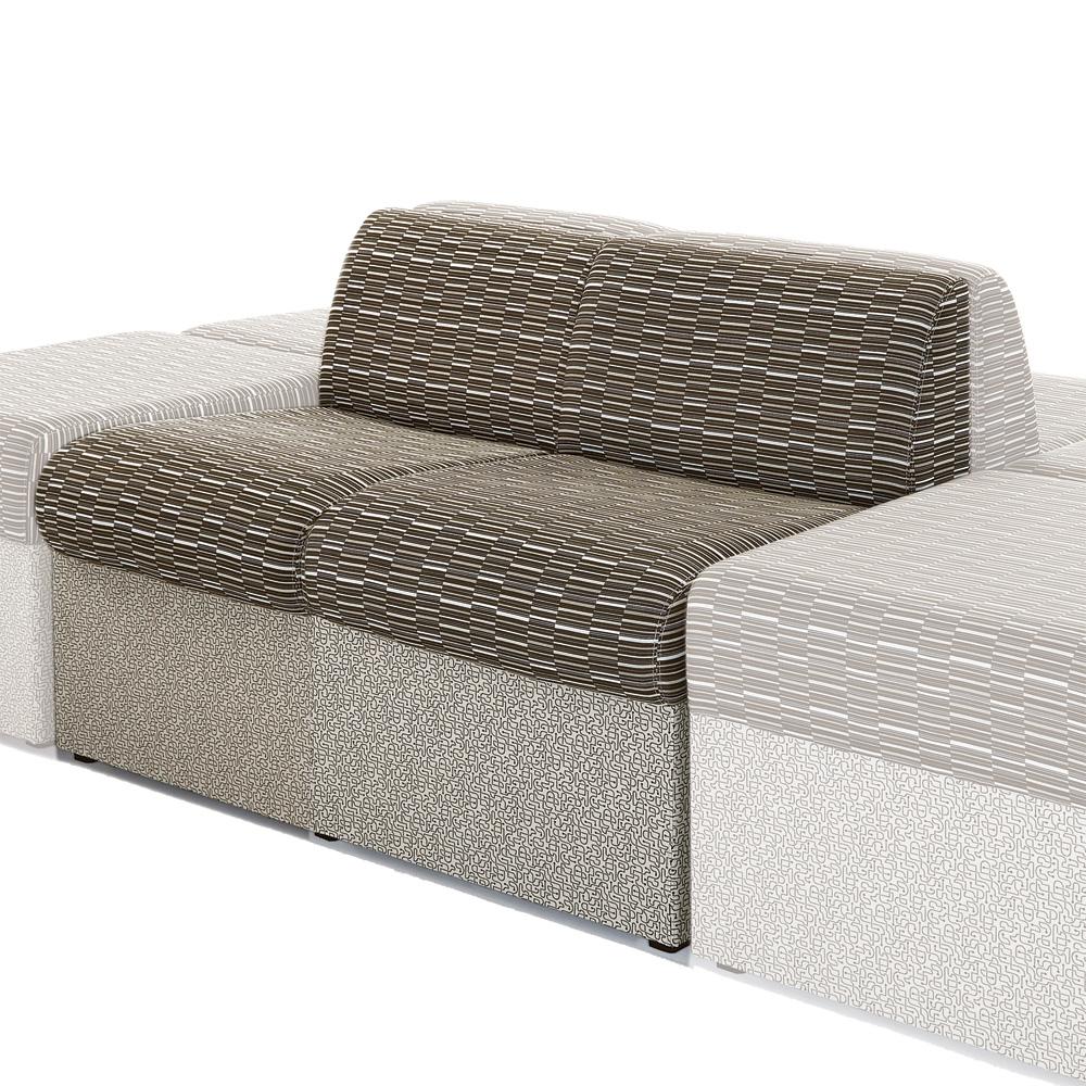 HPFI® STEPS Modular Lounge Seating - Armless Two Seat Chair, Fabric