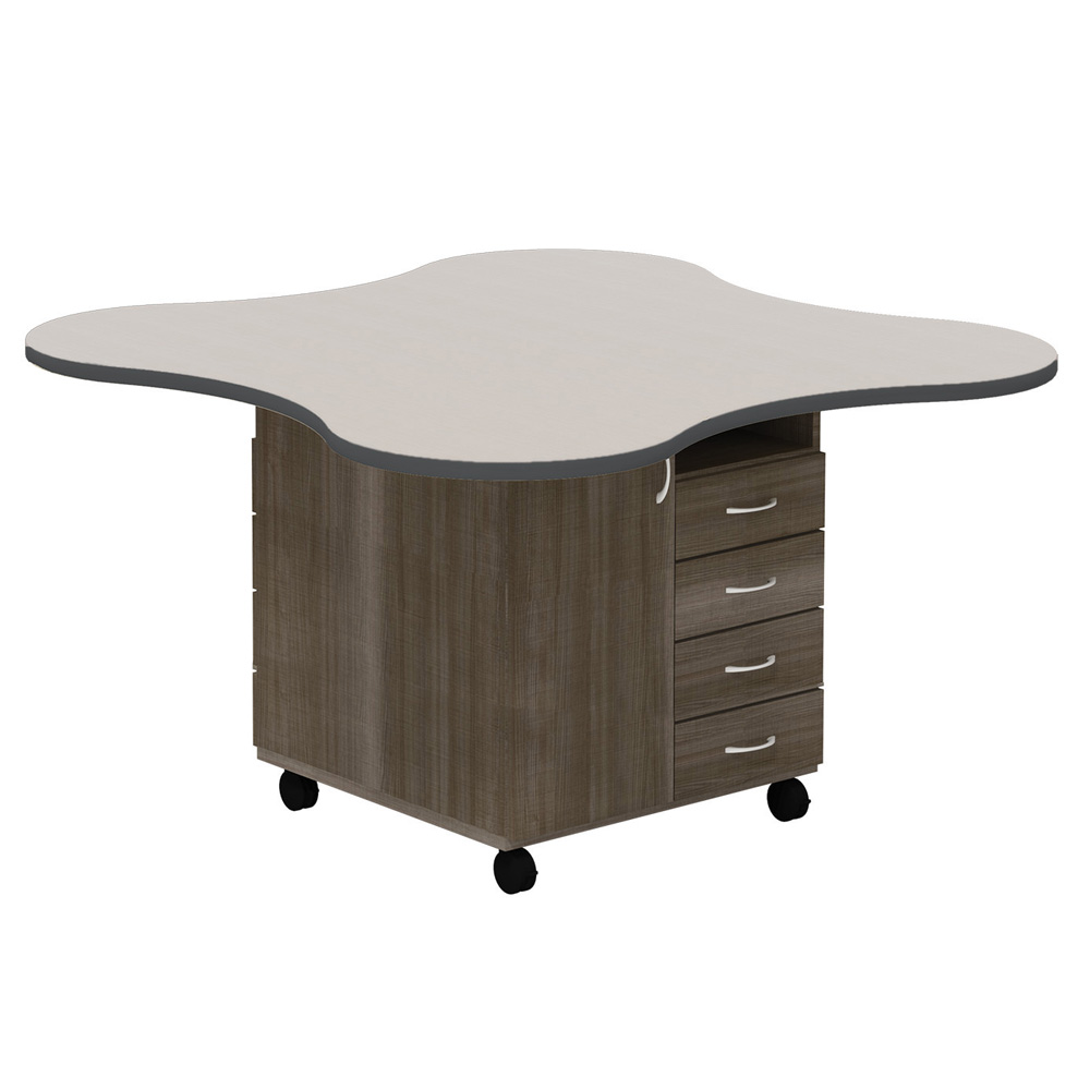 """mediatechnologies™ Mobile Makerspace Station - 36""""H x 54"""" Clover Shape Top"""