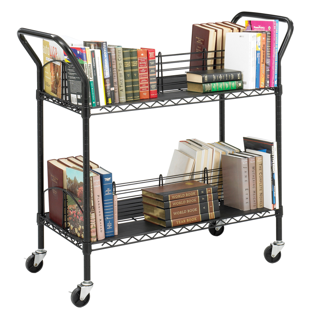SAFCO® Wire Book Cart - 4 Sloped Shelves