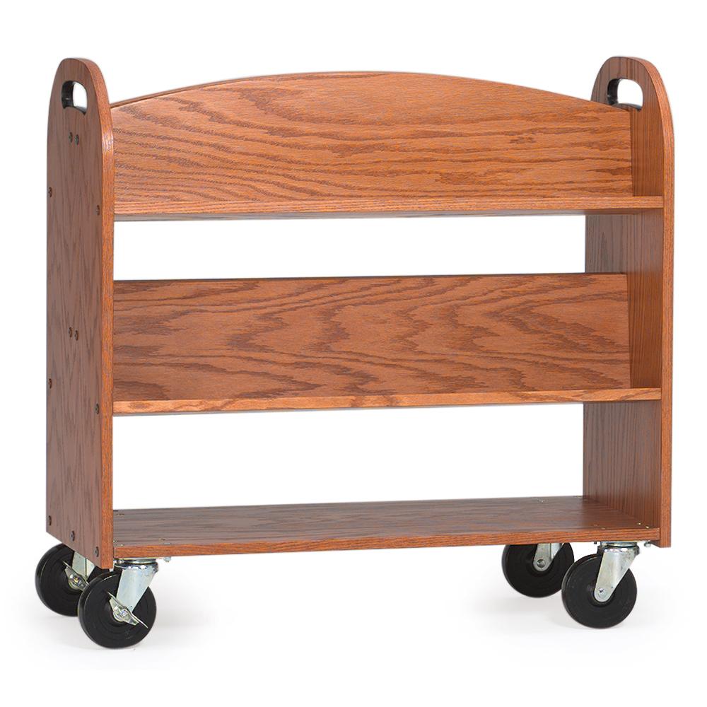 MAR-LINE® Designer Oak Book Truck - 4 Sloped, 1 Flat Bottom Shelf