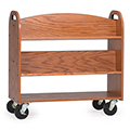 MAR-LINE® Designer Oak Book Truck - 4 Sloped, 1 Flat Bottom Shelf