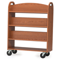 MAR-LINE® Designer Oak Book Truck - 6 Sloped, 1 Flat Bottom Shelf