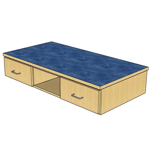 """Atlantis™ Modular Wood Circulation Desk - 52""""W Drawer Boxes, 2 Locking Drawers & 1 Cubbie"""