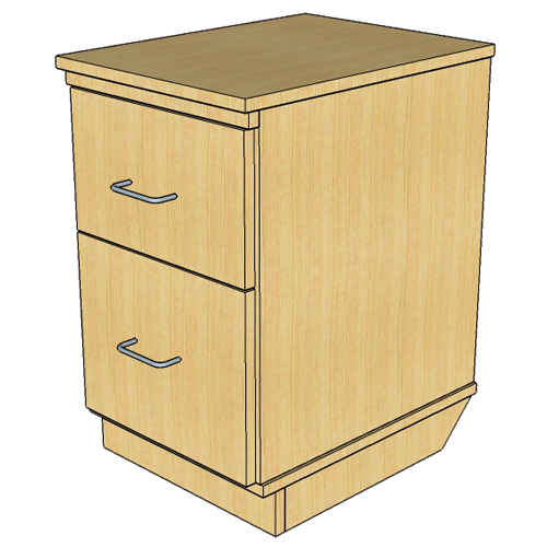 Atlantis™ Modular Wood Circulation Desk - Mobile Pedestal with 1 Box/1 File Drawer