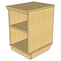Atlantis™ Modular Wood Circulation Desk - Mobile Pedestal Open with 1 Adjustable Shelf