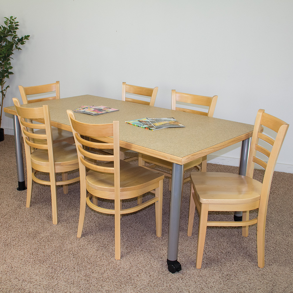 """Save 57%   Atlantis™ Library Table - 72""""W x 36""""D with 6 All Wood Chairs"""