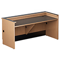 Nautilus™ Wood Circulation Desk - 32H x 48W x 30D Reference Desk with Patron Ledge