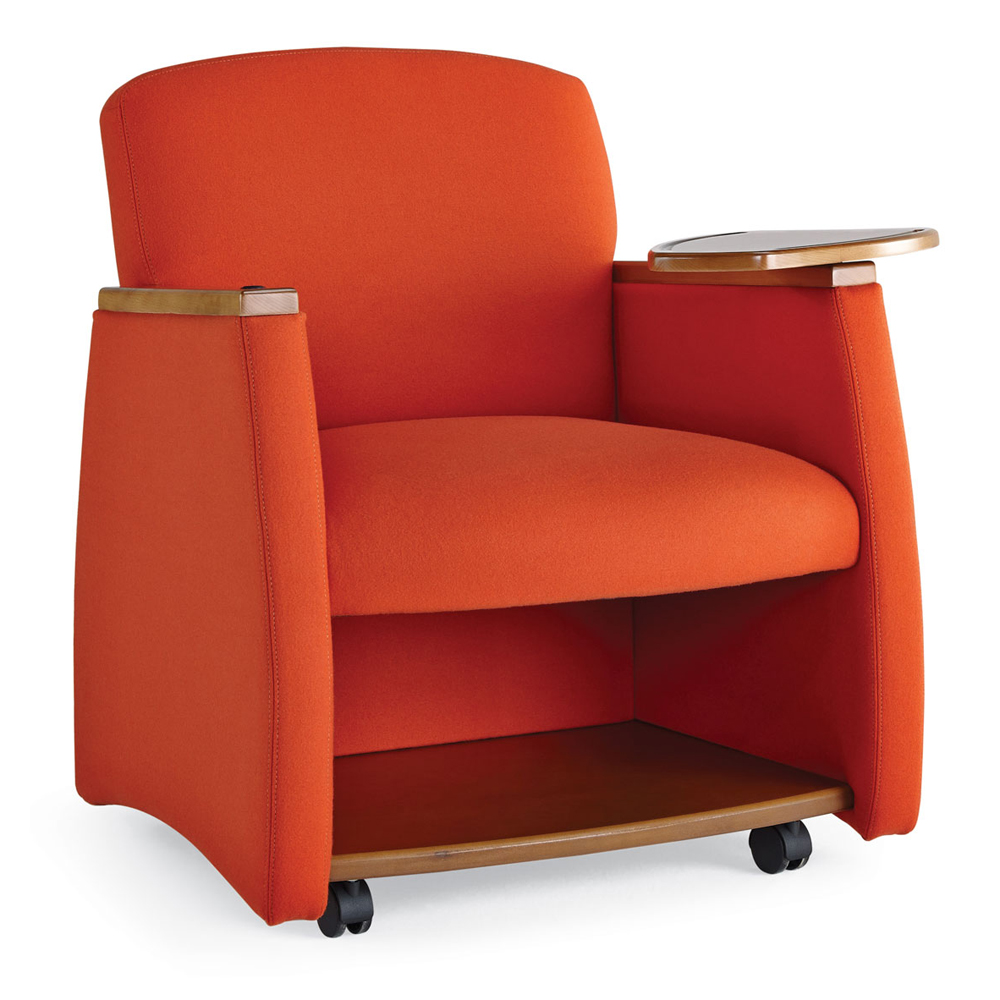 HPFI® Genesis Mobile Team Chair - Chair with Wood Arms, Tablet & Shelf, Leather