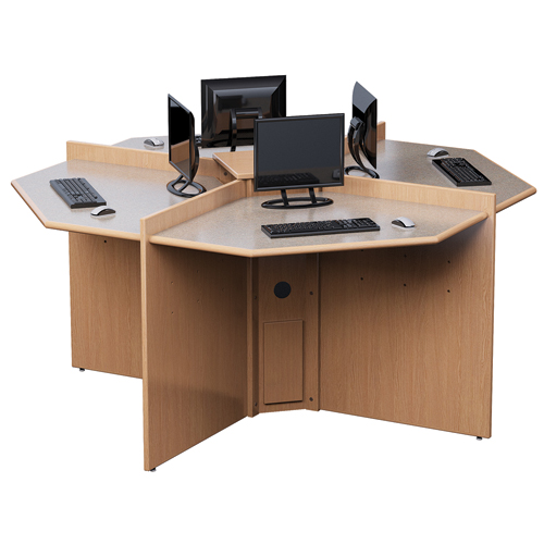 Russwood® Elite™ 4 Person Computer Station