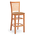 JSI Melrose Library Chair - All Wood Cafe Chair w/Fabric Seat & Horizontal Slats