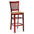 JSI Melrose Library Chair - All Wood Cafe Chair w/Fabric Seat & Vertical Slats