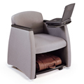 HPFI® Genesis Mobile Team Chair - Chair with Black Arms,Tablet & Shelf, Fabric