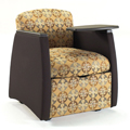 HPFI® Genesis Mobile Team Chair - Chair with Black Arms & Tablet, Fabric