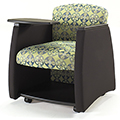 HPFI® Genesis Mobile Team Chair - Bariaric Width Chair with Black Arms,Tablet & Shelf, Leather