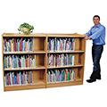Atlantis™ Wood Library Shelving - Mobile Double-Faced