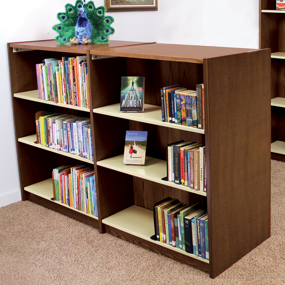 Atlantis™ Wood & Steel Library Shelving - Double-Faced