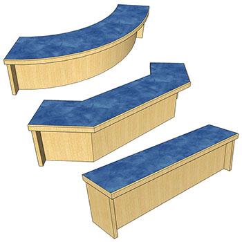 Patron Ledges for Atlantis™ Modular Wood Circulation Desk