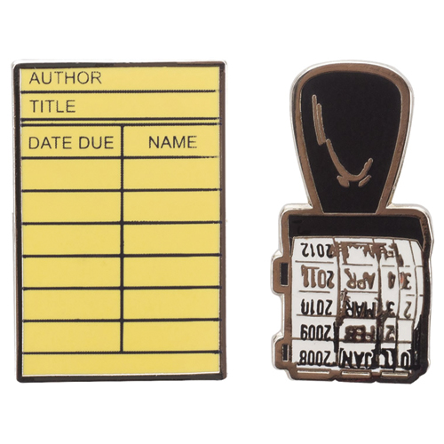 Library Card and Stamp Enamel Brass Pin Set - 2/Pkg