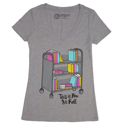 Book Truck Womens V-Neck T-Shirt