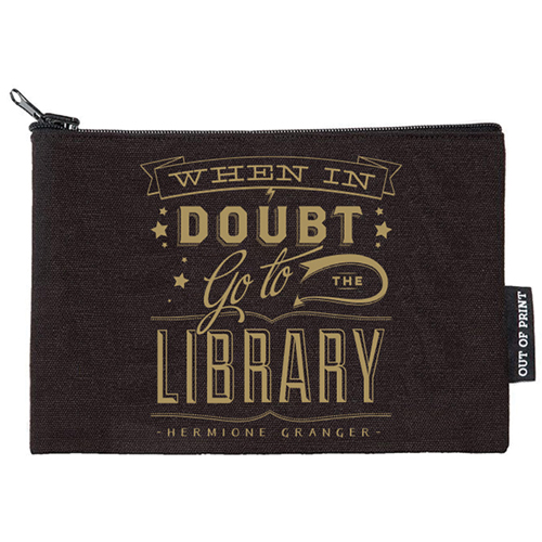 When In Doubt Go To The Library Flat Canvas Zippered Pouch