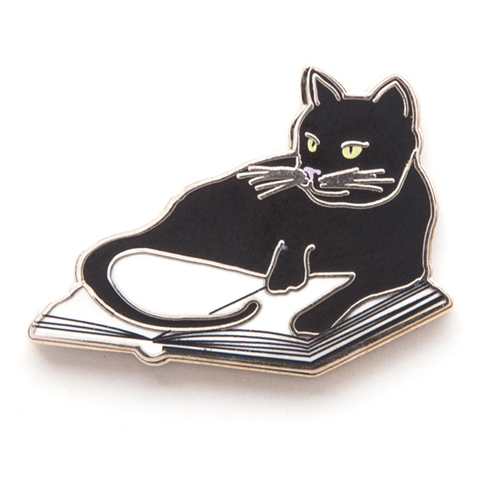 Bookstore Cats Enamel Brass Pin - 1/Pkg