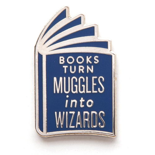 Books Turn Muggles Into Wizards Enamel Brass Pin - 1/Pkg