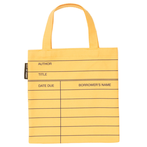 Library Card Flat Canvas Tote Bag - Small