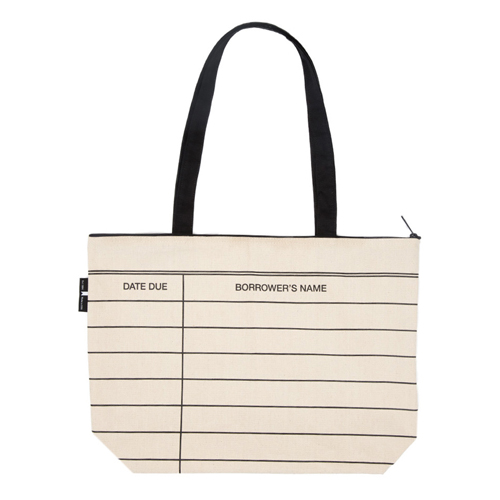 Library Card Gusseted Canvas Tote Bag