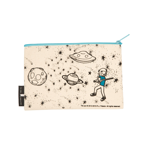 Wonder Choose Kind Flat Canvas Zippered Pouch - Natural