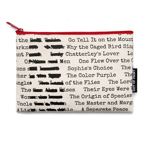 Banned Books Flat Canvas Zippered Pouch