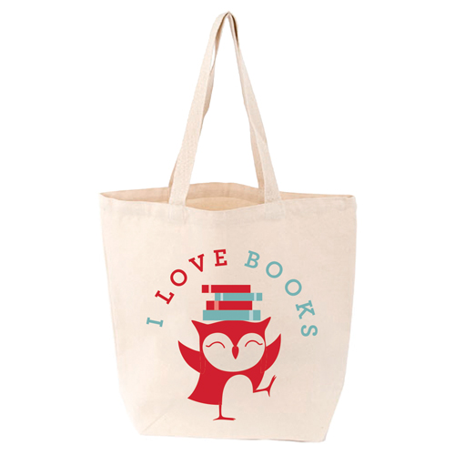 LoveLit I Love Books Gusseted Canvas Tote Bag
