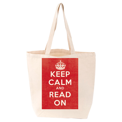 LoveLit Keep Calm and Read On Gusseted Canvas Tote Bag