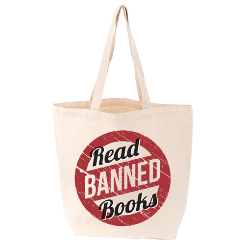 LoveLit Read Banned Books Gusseted Canvas Tote Bag