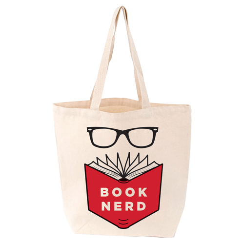 LoveLit Book Nerd Gusseted Canvas Tote Bag