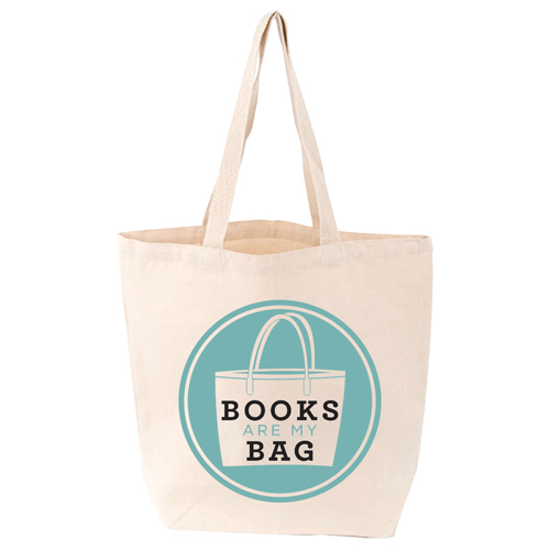 LoveLit Books Are My Bag Gusseted Canvas Tote Bag