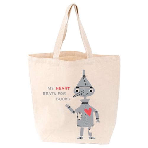 LoveLit My Heart Beats for Books Gusseted Canvas Tote Bag