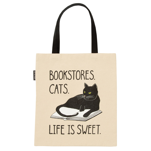 Bookstore Cats Flat Canvas Tote Bag