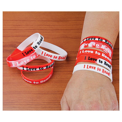 I Love to Read! Silicone Wristbands - 10/Pkg