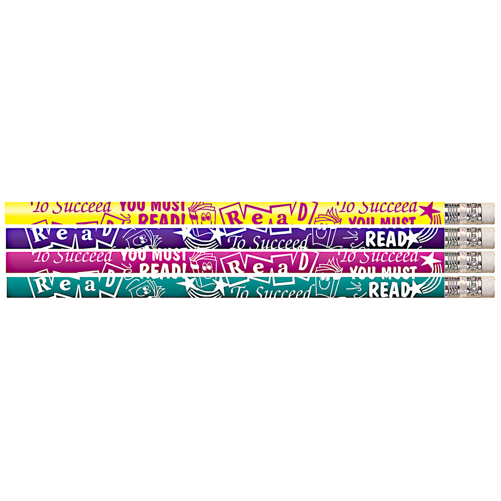 To Succeed You Must Read! Reading Motivational Pencils - 24/Pkg