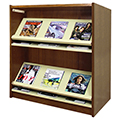 Atlantis™ Wood & Steel Double-Face Magazine Shelving - 42H x 24D Starter
