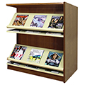 Atlantis™ Wood & Steel Double-Face Magazine Shelving - 42H x 24D Adder