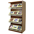 Atlantis™ Wood & Steel Double-Face Magazine Shelving - 72H x 24D Adder
