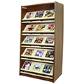 Atlantis™ Wood & Steel Double-Face Magazine Shelving - 82H x 24D Starter