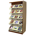 Atlantis™ Wood & Steel Double-Face Magazine Shelving - 82H x 24D Adder
